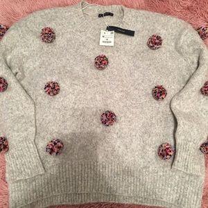 Zara NWT Oversized Pom Pom sweater